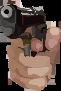 A hand holding a gun.